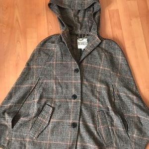 BB Dakota Brown Plaid Hooded Cape/Poncho